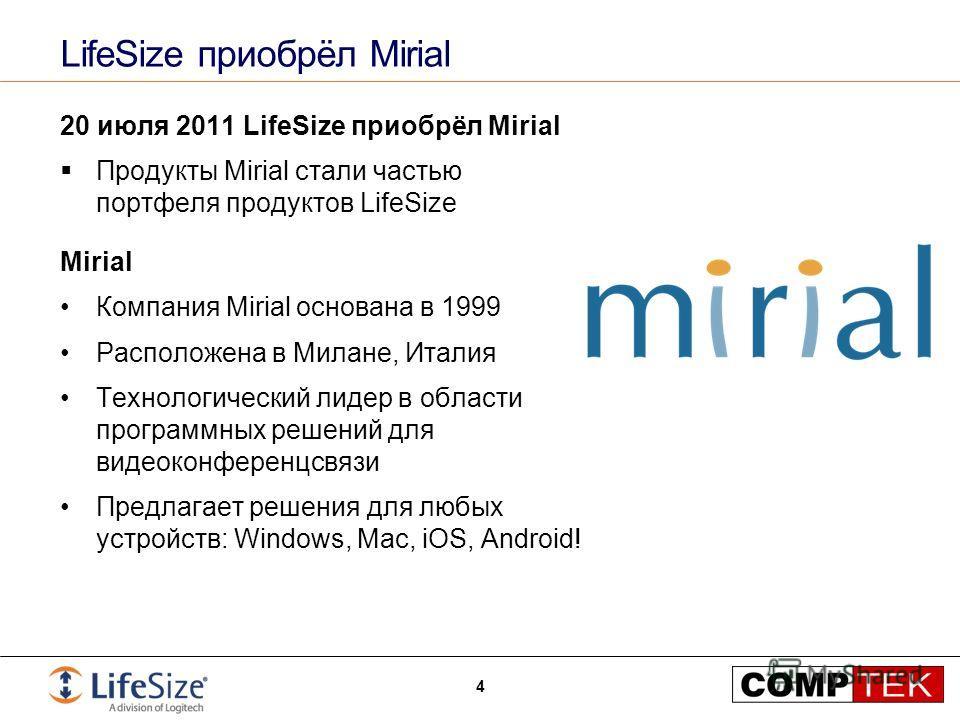 LifeSize приобрёл Mirial 20 июля 2011 LifeSize приобрёл Mirial Продукты Mirial стали частью портфеля продуктов LifeSize Mirial Компания Mirial основана в 1999 Расположена в Милане, Италия Технологический лидер в области программных решений для видеок