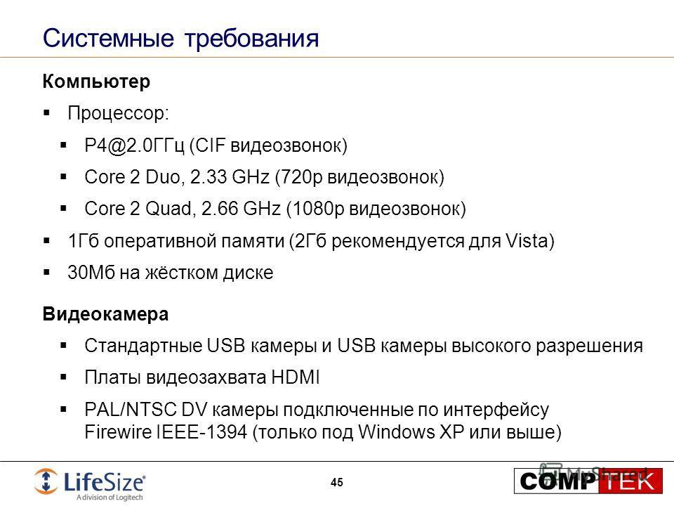 Системные требования Компьютер Процессор: P4@2.0ГГц (CIF видеозвонок) Core 2 Duo, 2.33 GHz (720p видеозвонок) Core 2 Quad, 2.66 GHz (1080p видеозвонок) 1Гб оперативной памяти (2Гб рекомендуется для Vista) 30Мб на жёстком диске Видеокамера Стандартные