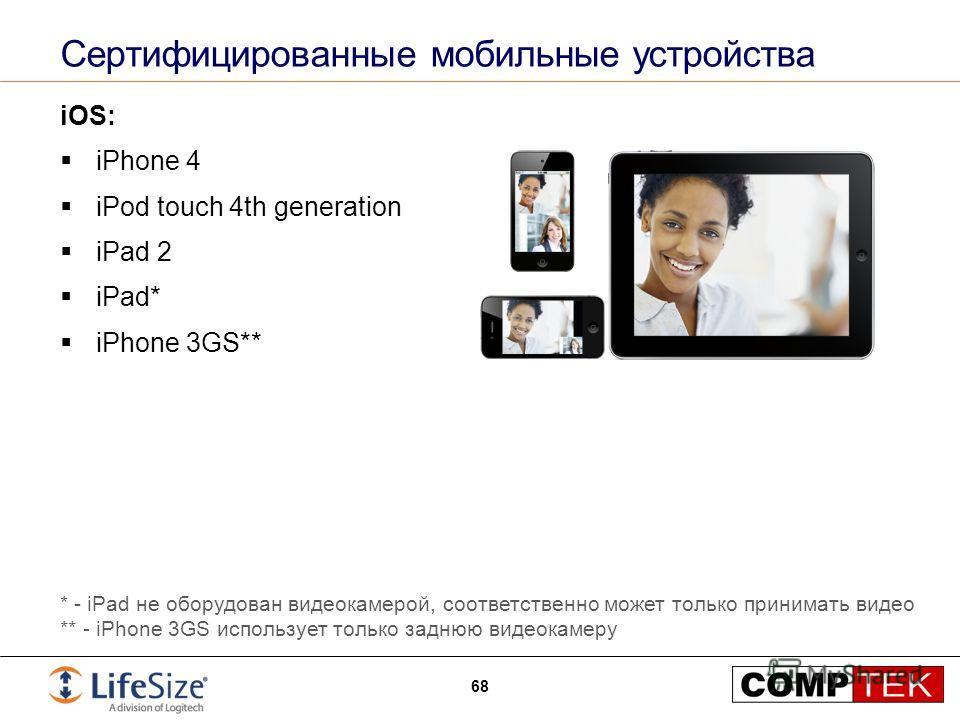 Сертифицированные мобильные устройства iOS: iPhone 4 iPod touch 4th generation iPad 2 iPad* iPhone 3GS** 68 * - iPad не оборудован видеокамерой, соответственно может только принимать видео ** - iPhone 3GS использует только заднюю видеокамеру