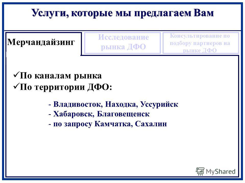 По каналам рынка По территории ДФО: Услуги, которые мы предлагаем Вам Мерчандайзинг Исследование рынка ДФО Консультирование по подбору партнеров на рынке ДФО - Владивосток, Находка, Уссурийск - Хабаровск, Благовещенск - по запросу Камчатка, Сахалин