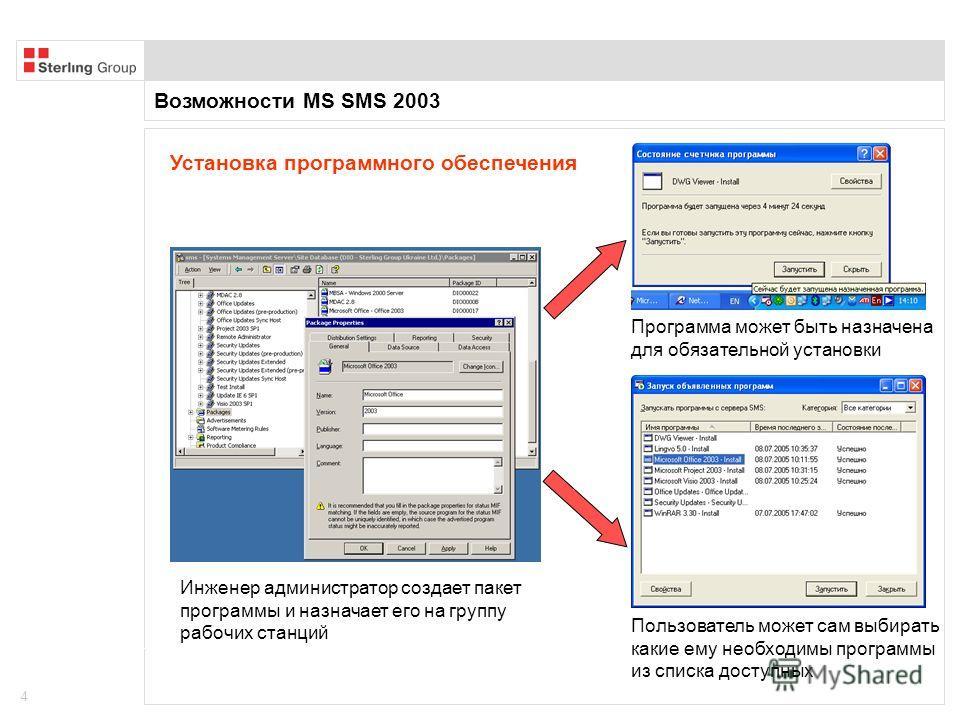 Возможности MS SMS 2003 4 Установка программного обеспечения Инженер администратор создает пакет программы и назначает его на группу рабочих станций Программа может быть назначена для обязательной установки Пользователь может сам выбирать какие ему н