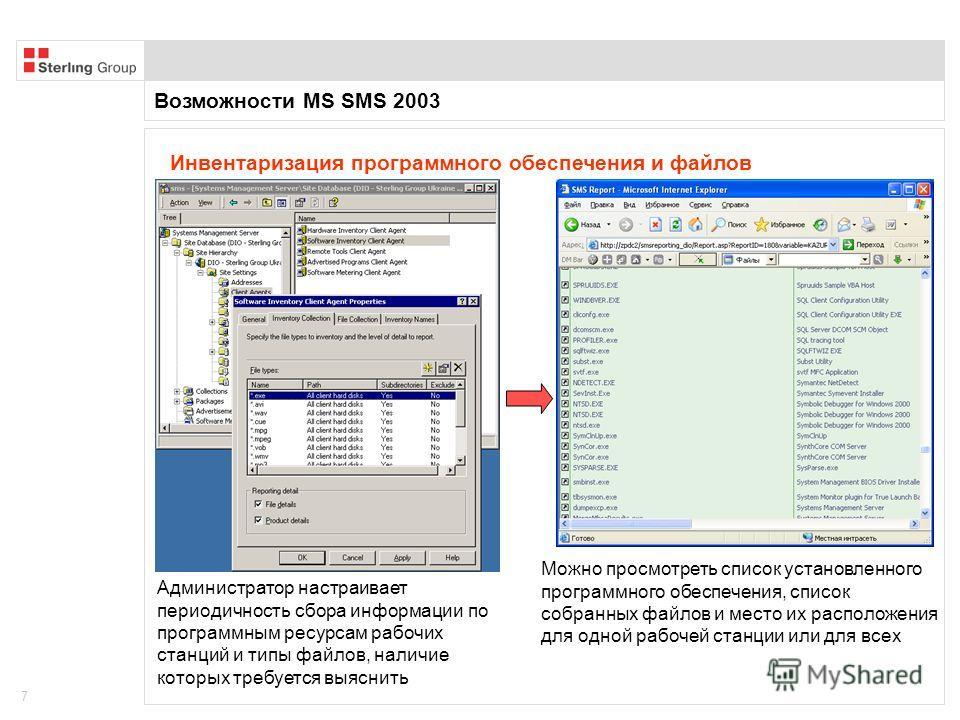 Возможности MS SMS 2003 7 Инвентаризация программного обеспечения и файлов Администратор настраивает периодичность сбора информации по программным ресурсам рабочих станций и типы файлов, наличие которых требуется выяснить Можно просмотреть список уст