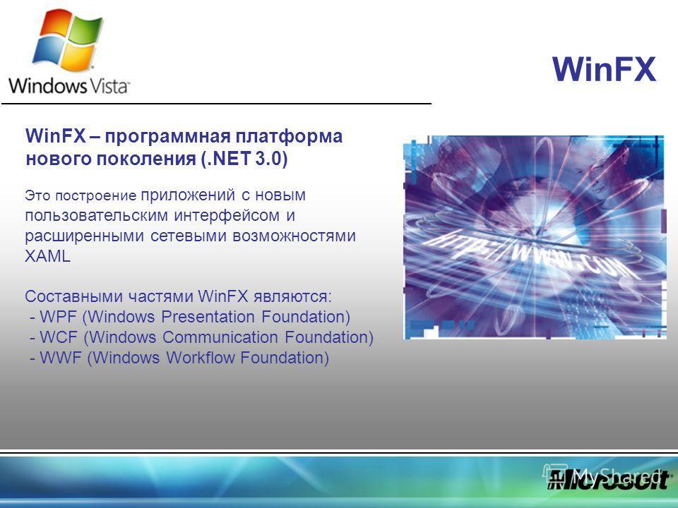 WinFX WinFX – программная платформа нового поколения (.NET 3.0) Это построение приложений с новым пользовательским интерфейсом и расширенными сетевыми возможностями XAML Составными частями WinFX являются: - WPF (Windows Presentation Foundation) - WCF