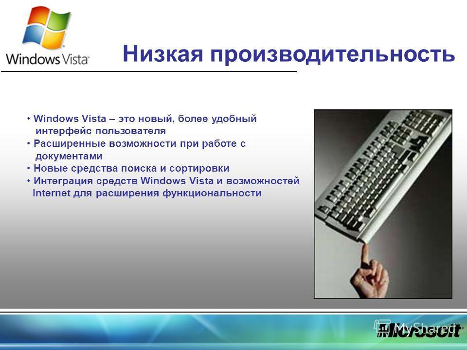 Низкая производительность Windows Vista – это новый, более удобный интерфейс пользователя Расширенные возможности при работе с документами Новые средства поиска и сортировки Интеграция средств Windows Vista и возможностей Internet для расширения функ