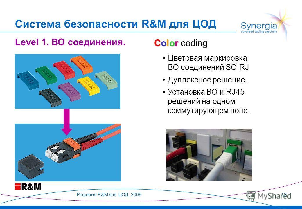 Решения R&M для ЦОД, 200912 Система безопасности R&M для ЦОД Цветовая маркировка ВО соединений SC-RJ Дуплексное решение. Установка ВО и RJ45 решений на одном коммутирующем поле. Level 1. ВО соединения. Color Color coding
