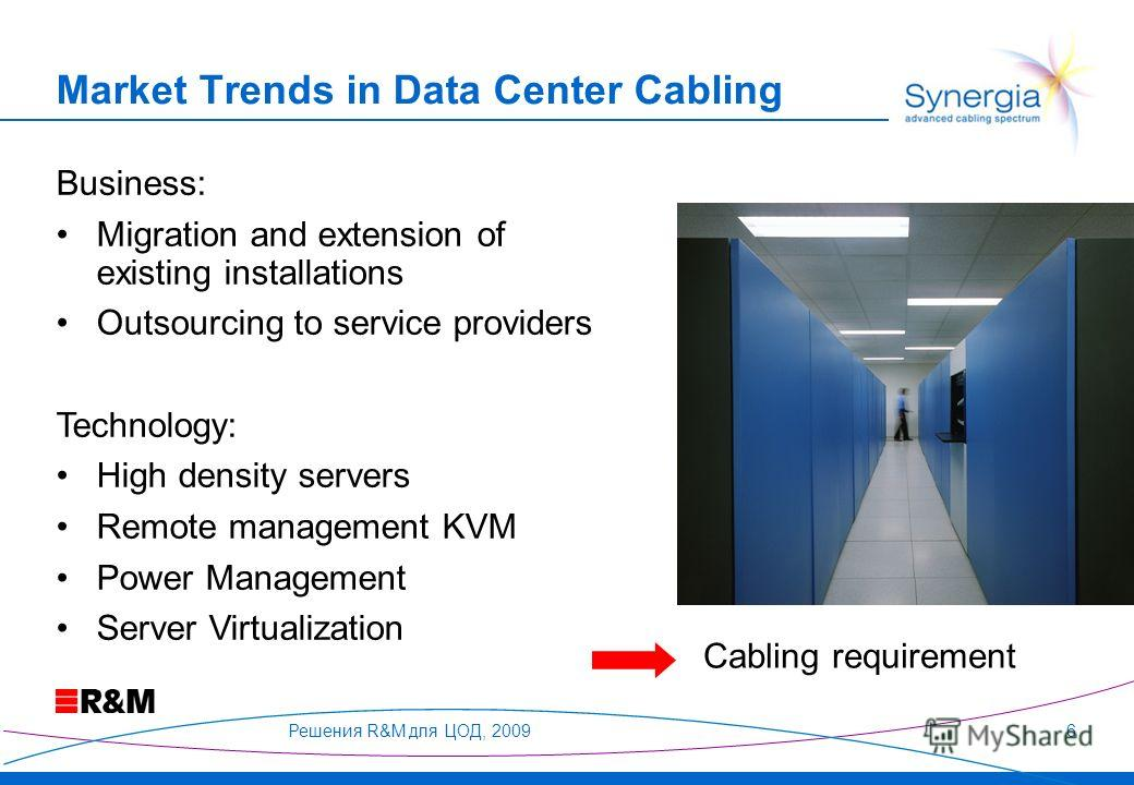 Решения R&M для ЦОД, 20096 Business: Migration and extension of existing installations Outsourcing to service providers Technology: High density servers Remote management KVM Power Management Server Virtualization Cabling requirement Market Trends in