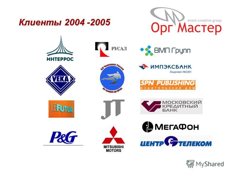 Клиенты 2004 -2005