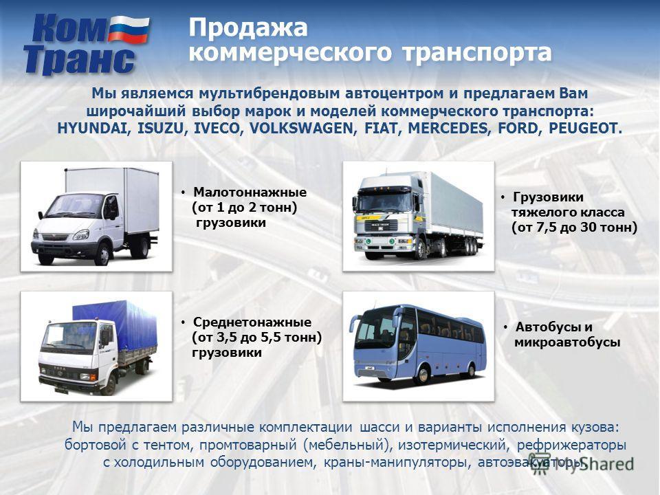 Продажа коммерческого транспорта Мы являемся мультибрендовым автоцентром и предлагаем Вам широчайший выбор марок и моделей коммерческого транспорта: HYUNDAI, ISUZU, IVECO, VOLKSWAGEN, FIAT, MERCEDES, FORD, PEUGEOT. Автобусы и микроавтобусы Малотоннаж