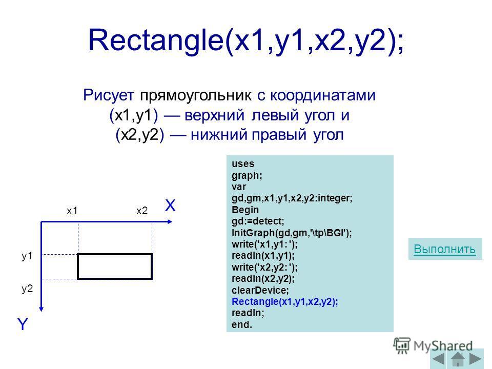 Rectangle(x1,y1,x2,y2); Y X y2 x2 uses graph; var gd,gm,x1,y1,x2,y2:integer; Begin gd:=detect; InitGraph(gd,gm,'\tp\BGI'); write('x1,y1: '); readln(x1,y1); write('x2,y2: '); readln(x2,y2); clearDevice; Rectangle(x1,y1,x2,y2); readln; end. Рисует прям