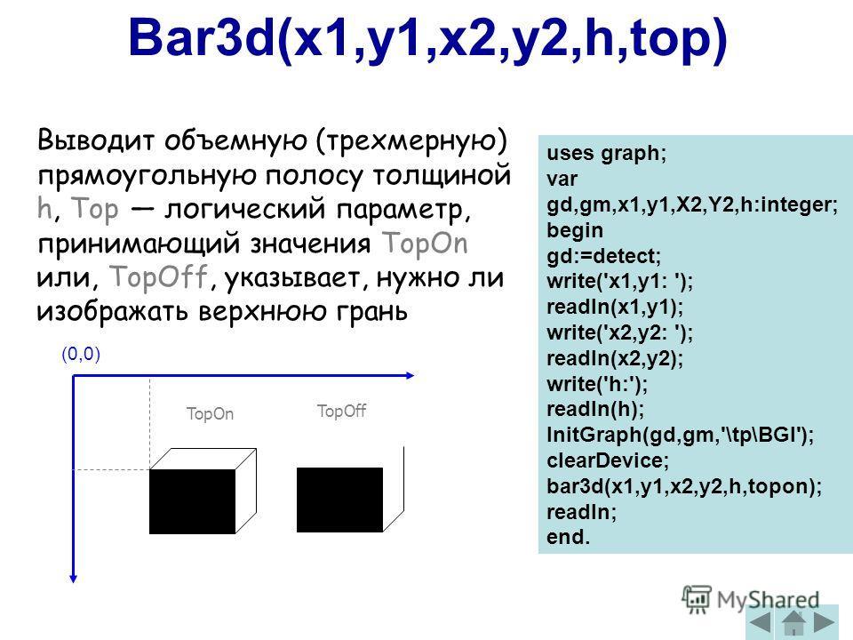 Bar3d(x1,y1,x2,y2,h,top) Выводит объемную (трехмерную) прямоугольную полосу толщиной h, Top логический параметр, принимающий значения TopOn или, TopOff, указывает, нужно ли изображать верхнюю грань (0,0) TopOn TopOff uses graph; var gd,gm,x1,y1,X2,Y2