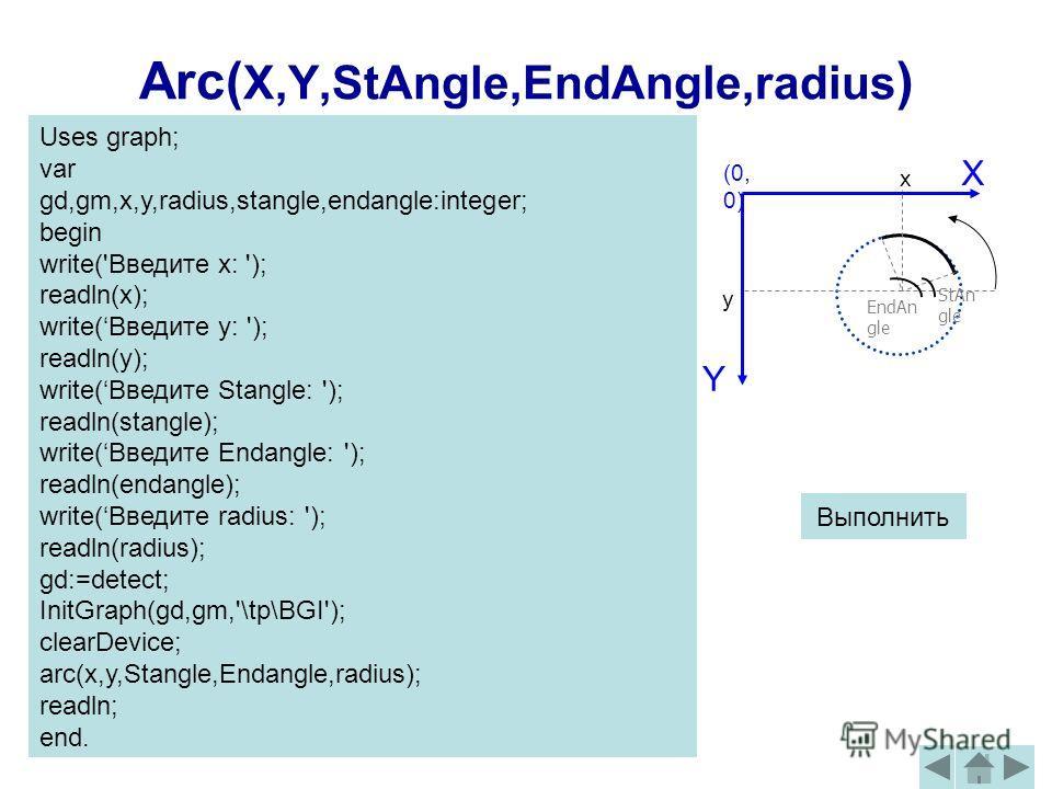 Arc( X,Y,StAngle,EndAngle,radius ) (0, 0) X Y x y StАn gle ЕndAn gle Выполнить Uses graph; var gd,gm,x,y,radius,stangle,endangle:integer; begin write('Введите x: '); readln(x); write(Введите y: '); readln(y); write(Введите Stangle: '); readln(stangle