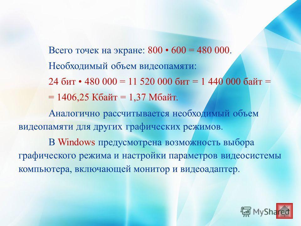 Всего точек на экране: 800 600 = 480 000. Необходимый объем видеопамяти: 24 бит 480 000 = 11 520 000 бит = 1 440 000 байт = = 1406,25 Кбайт = 1,37 Мбайт. Аналогично рассчитывается необходимый объем видеопамяти для других графических режимов. В Window
