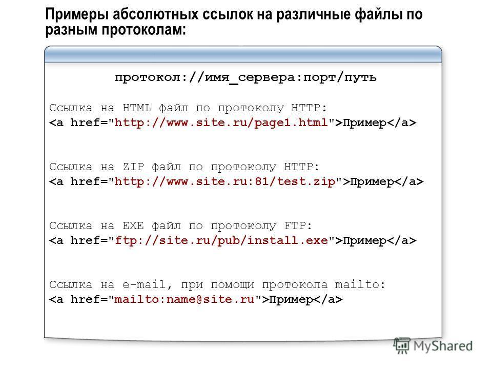 Примеры абсолютных ссылок на различные файлы по разным протоколам: протокол://имя_сервера:порт/путь Ссылка на HTML файл по протоколу HTTP: Пример Ссылка на ZIP файл по протоколу HTTP: Пример Ссылка на EXE файл по протоколу FTP: Пример Ссылка на e-mai