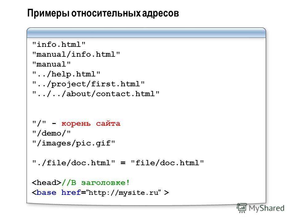 Примеры относительных адресов info.html manual/info.html manual ../help.html ../project/first.html ../../about/contact.html / - корень сайта /demo/ /images/pic.gif ./file/doc.html = file/doc.html //В заголовке!