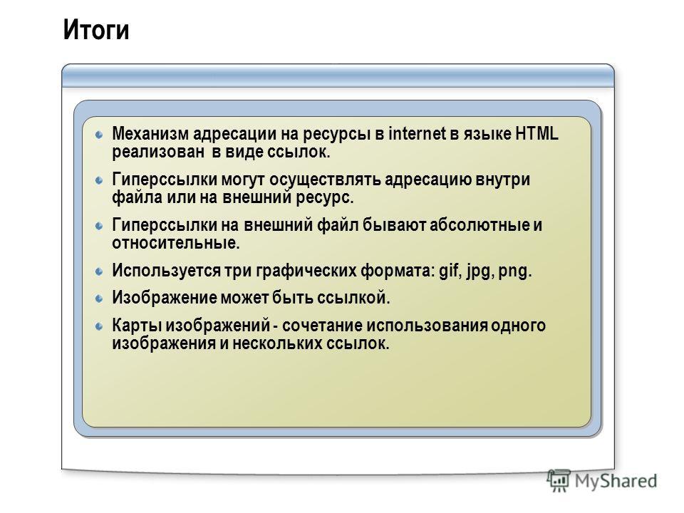 Итоги Механизм адресации на ресурсы в internet в языке HTML реализован в виде ссылок. Гиперссылки могут осуществлять адресацию внутри файла или на внешний ресурс. Гиперссылки на внешний файл бывают абсолютные и относительные. Используется три графиче