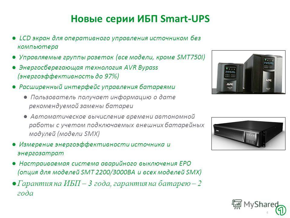 4 Новые серии ИБП Smart-UPS LCD экран для оперативного управления источником без компьютера Управляемые группы розеток (все модели, кроме SMT750I) Энергосберегающая технология AVR Bypass (энергоэффективность до 97%) Расширенный интерфейс управления б