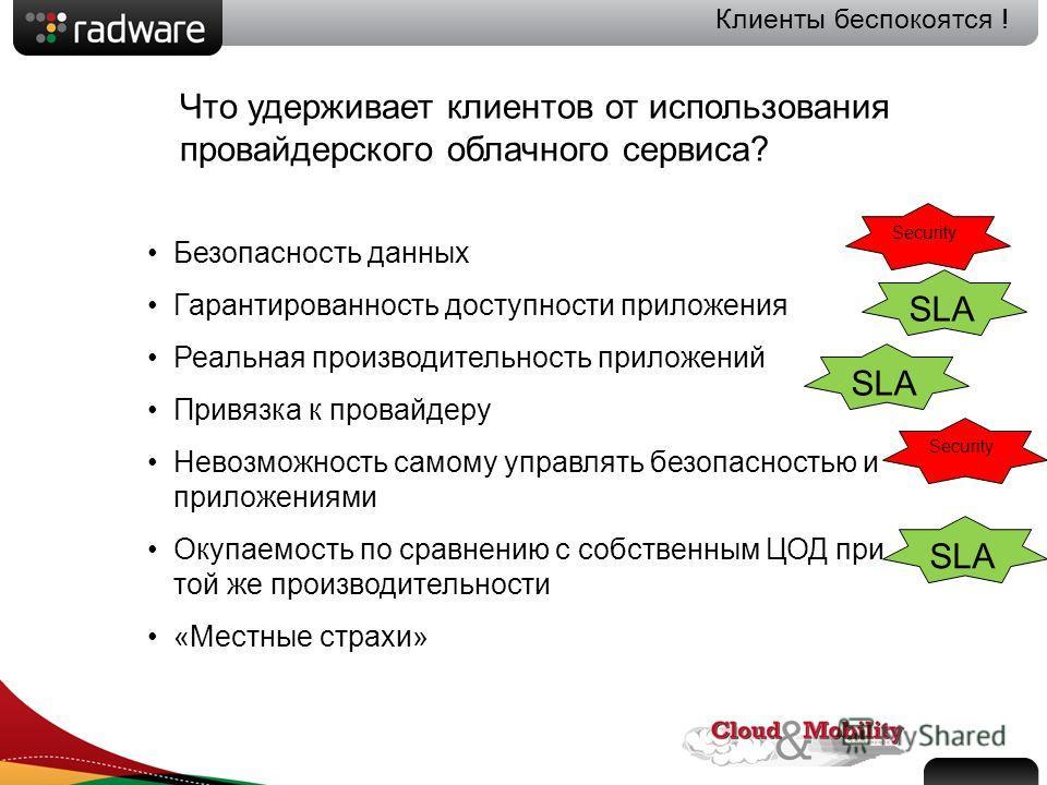 Slide 2 Клиенты беспокоятся ! Безопасность данных Гарантированность доступности приложения Реальная производительность приложений Привязка к провайдеру Невозможность самому управлять безопасностью и приложениями Окупаемость по сравнению с собственным