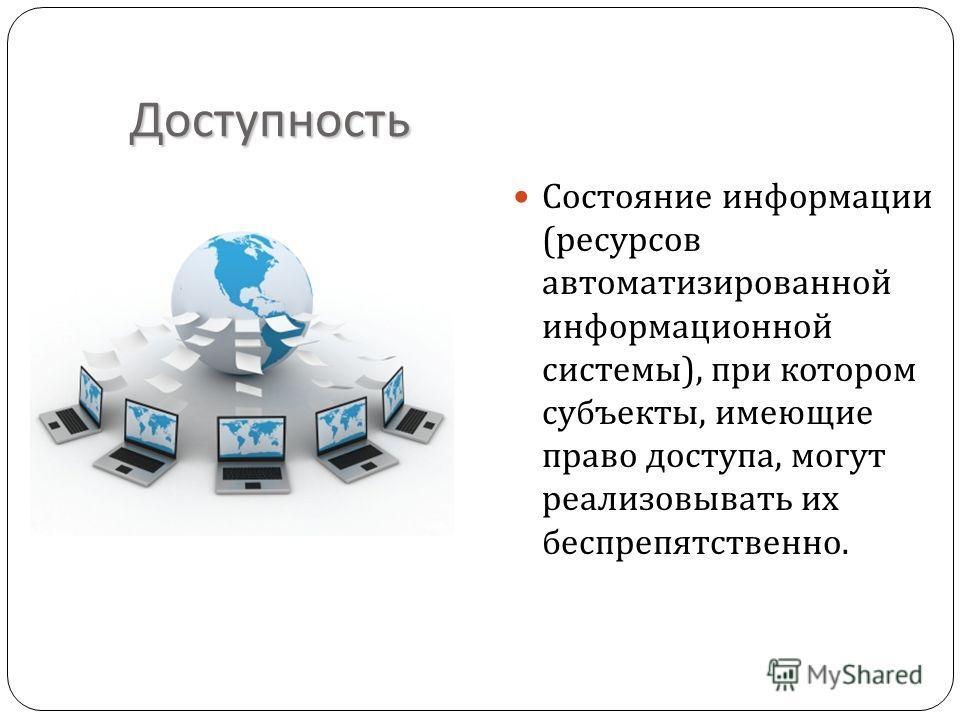 Доступность Состояние информации ( ресурсов автоматизированной информационной системы ), при котором субъекты, имеющие право доступа, могут реализовывать их беспрепятственно.
