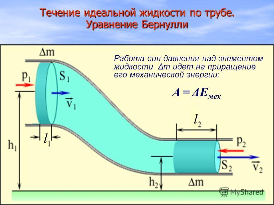 l l Течение идеальной жидкости по трубе. Уравнение Бернулли A = ΔE мех Работа сил давления над элементом жидкости Δт идет на приращение его механической энергии: