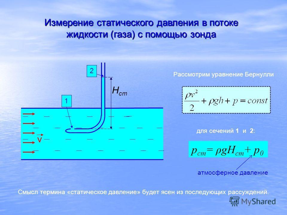 Измерение статического давления в потоке жидкости (газа) с помощью зонда 12 Н ст v p ст = ρgH ст + р 0 Рассмотрим уравнение Бернулли для сечений 1 и 2: Смысл термина «статическое давление» будет ясен из последующих рассуждений. атмосферное давление