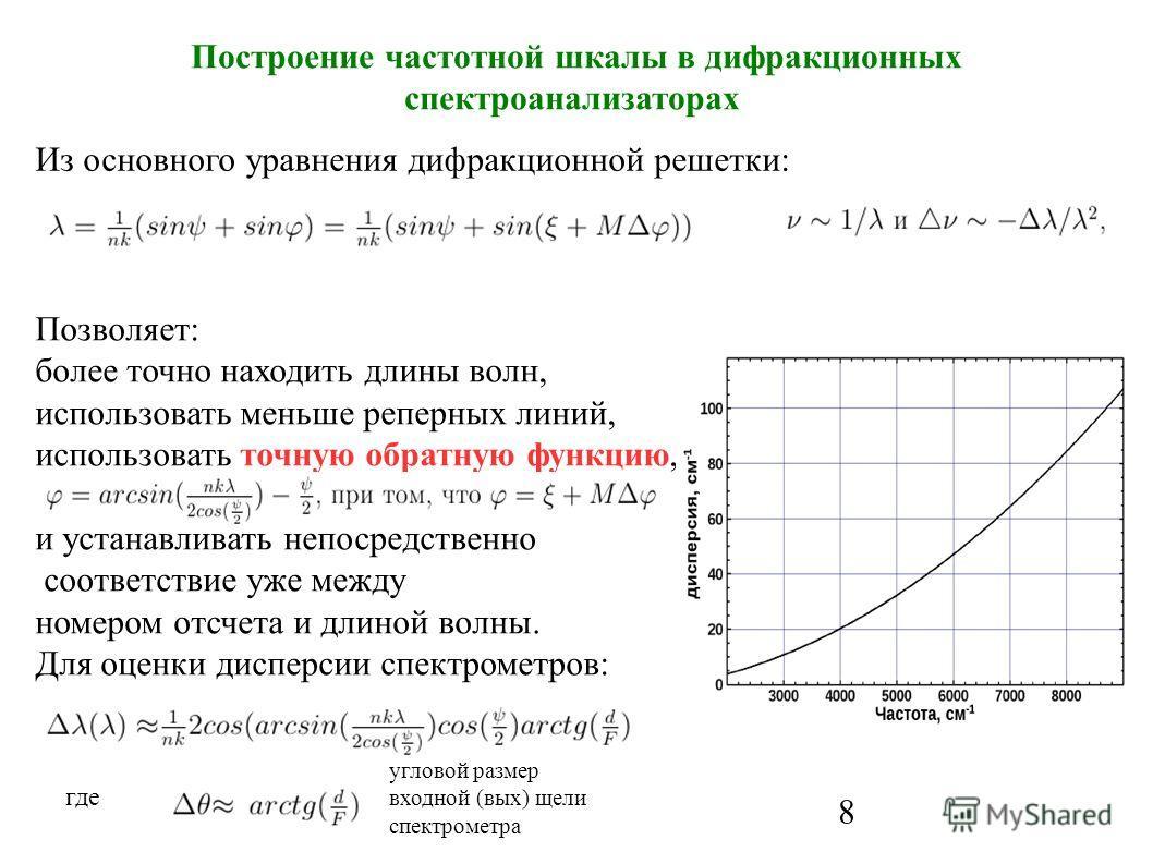 8 Построение частотной шкалы в дифракционных спектроанализаторах где Из основного уравнения дифракционной решетки: угловой размер входной (вых) щели спектрометра Позволяет: более точно находить длины волн, использовать меньше реперных линий, использо