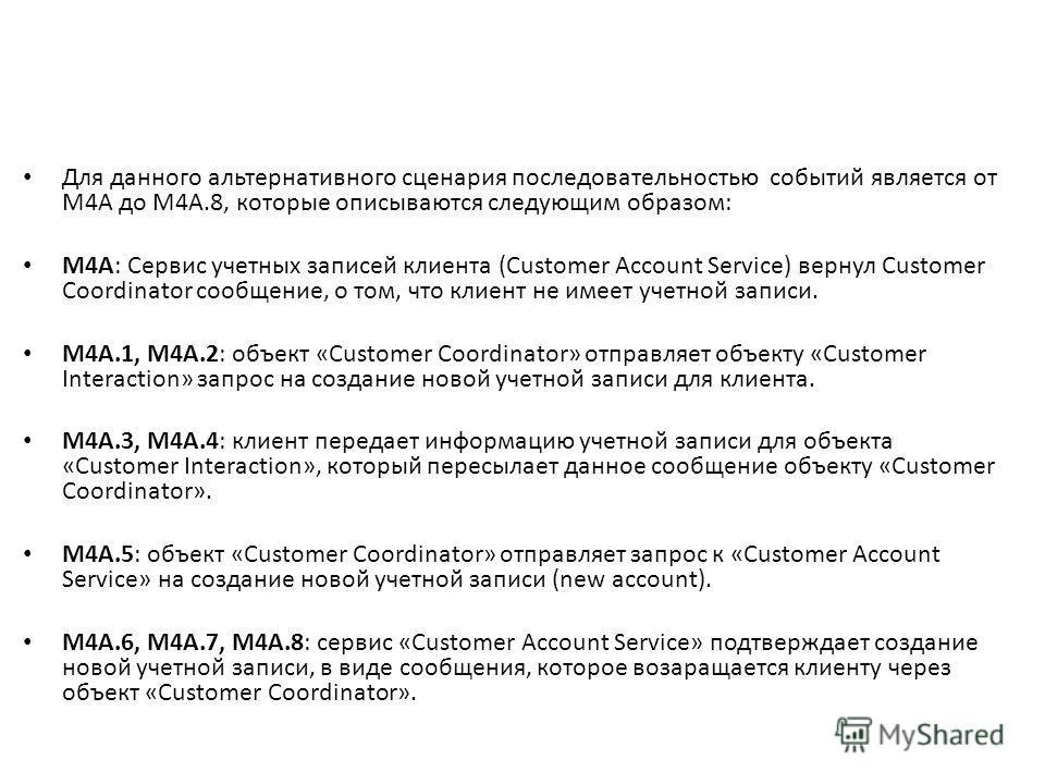 Для данного альтернативного сценария последовательностью событий является от M4A до M4A.8, которые описываются следующим образом: M4A: Сервис учетных записей клиента (Customer Account Service) вернул Customer Coordinator сообщение, о том, что клиент