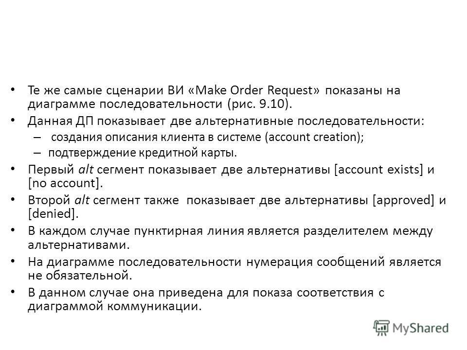 Те же самые сценарии ВИ «Make Order Request» показаны на диаграмме последовательности (рис. 9.10). Данная ДП показывает две альтернативные последовательности: – создания описания клиента в системе (account creation); – подтверждение кредитной карты.