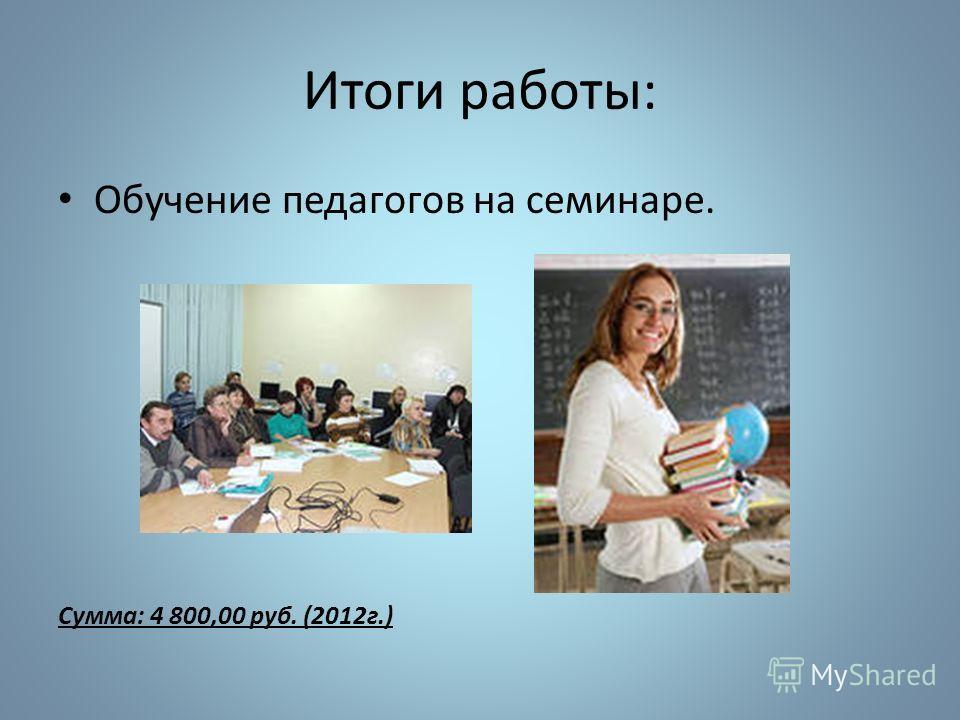 Итоги работы: Обучение педагогов на семинаре. Сумма: 4 800,00 руб. (2012г.)