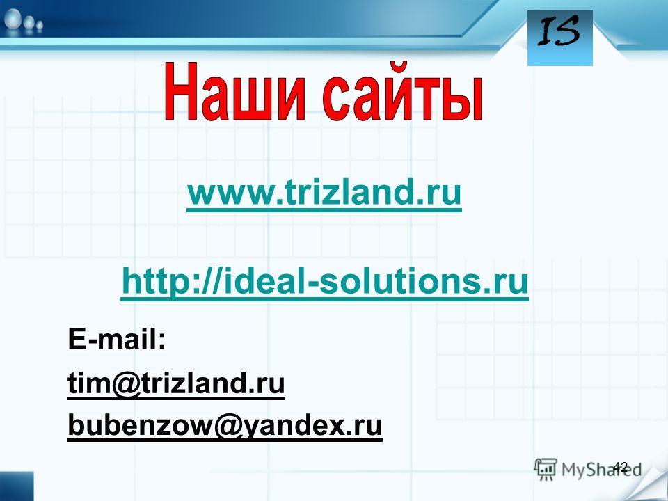 IS 42 www.trizland.ru http://ideal-solutions.ru bubenzow@yandex.ru tim@trizland.ru E-mail: