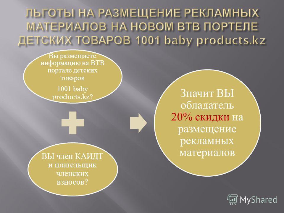 Вы размещаете информацию на ВТВ портале детских товаров 1001 baby products.kz? ВЫ член КАИДТ и плательщик членских взносов? Значит ВЫ обладатель 20% скидки на размещение рекламных материалов