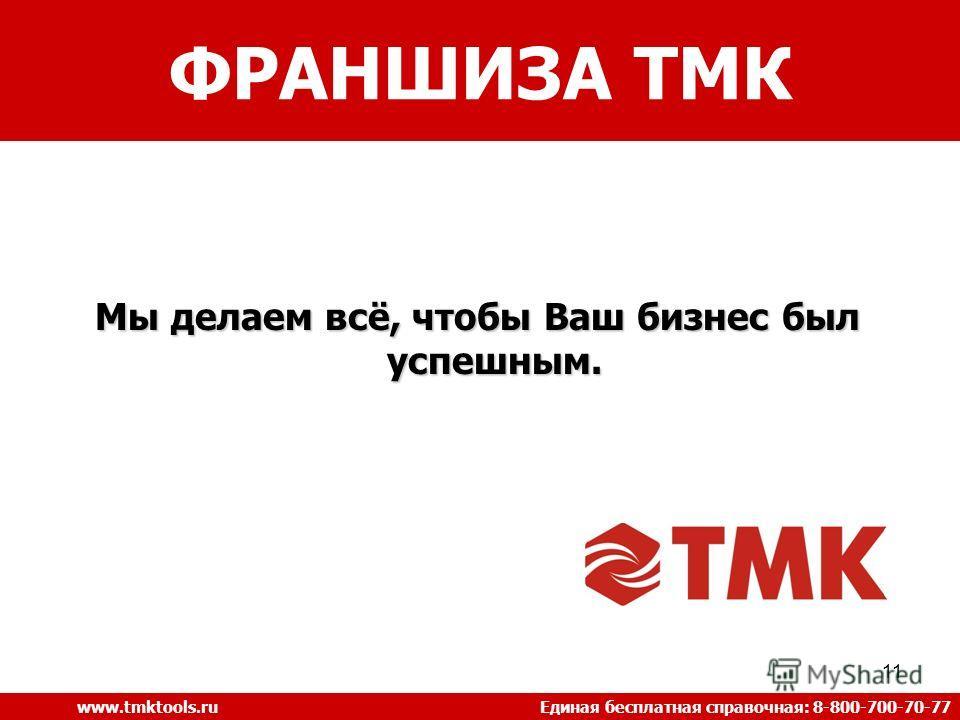 11 Мы делаем всё, чтобы Ваш бизнес был успешным. ФРАНШИЗА ТМК www.tmktools.ru Единая бесплатная справочная: 8-800-700-70-77