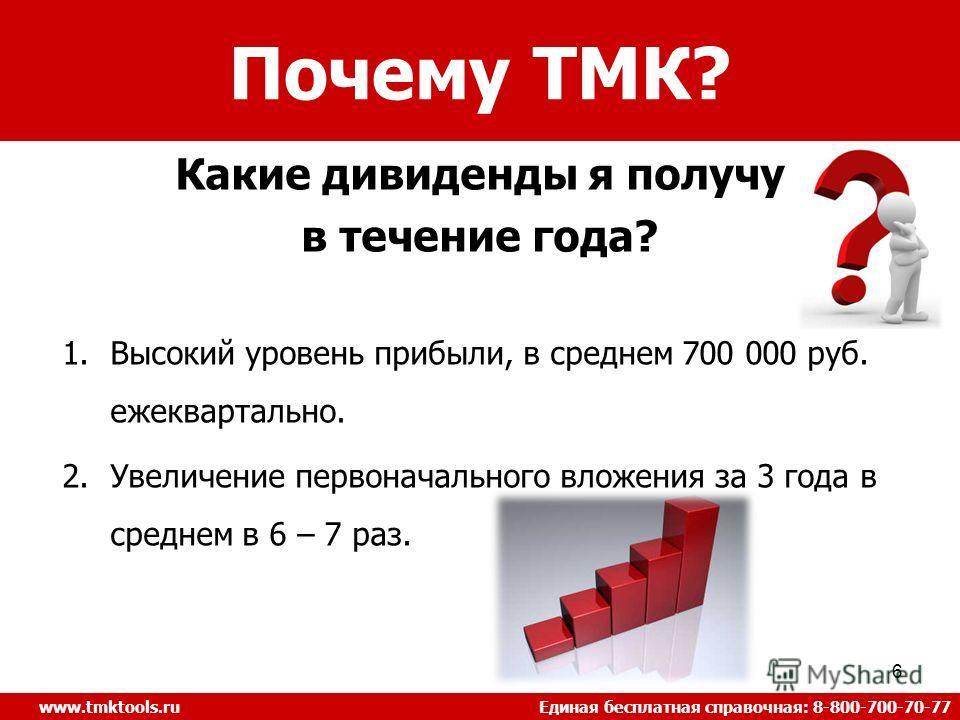 6 Почему ТМК? www.tmktools.ru Единая бесплатная справочная: 8-800-700-70-77 Какие дивиденды я получу в течение года? 1.Высокий уровень прибыли, в среднем 700 000 руб. ежеквартально. 2.Увеличение первоначального вложения за 3 года в среднем в 6 – 7 ра