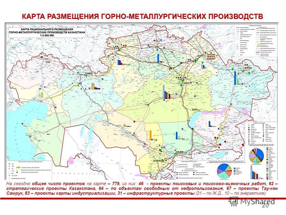 На сегодня общее число проектов на карте – 779, из них: 46 - проекты поисковых и поисково-оценочных работ, 62 – стратегические проекты Казахстана, 64 – по объектам свободным от недропользования, 67 – проекты Тау-кен Самрук, 83 – проекты карты индустр
