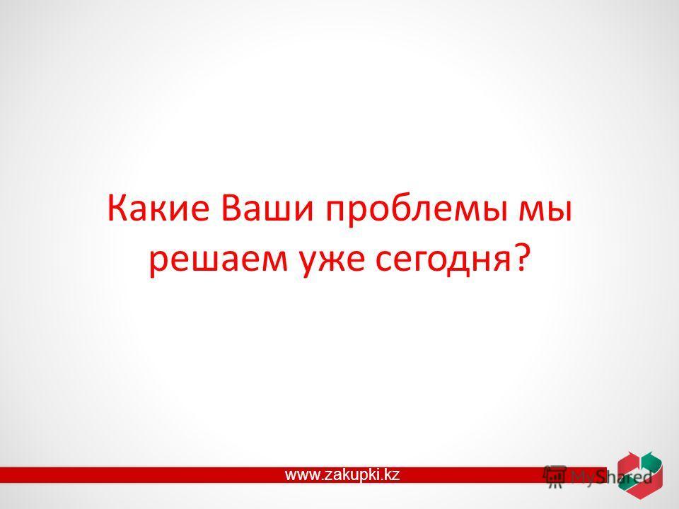 Какие Ваши проблемы мы решаем уже сегодня? www.zakupki.kz
