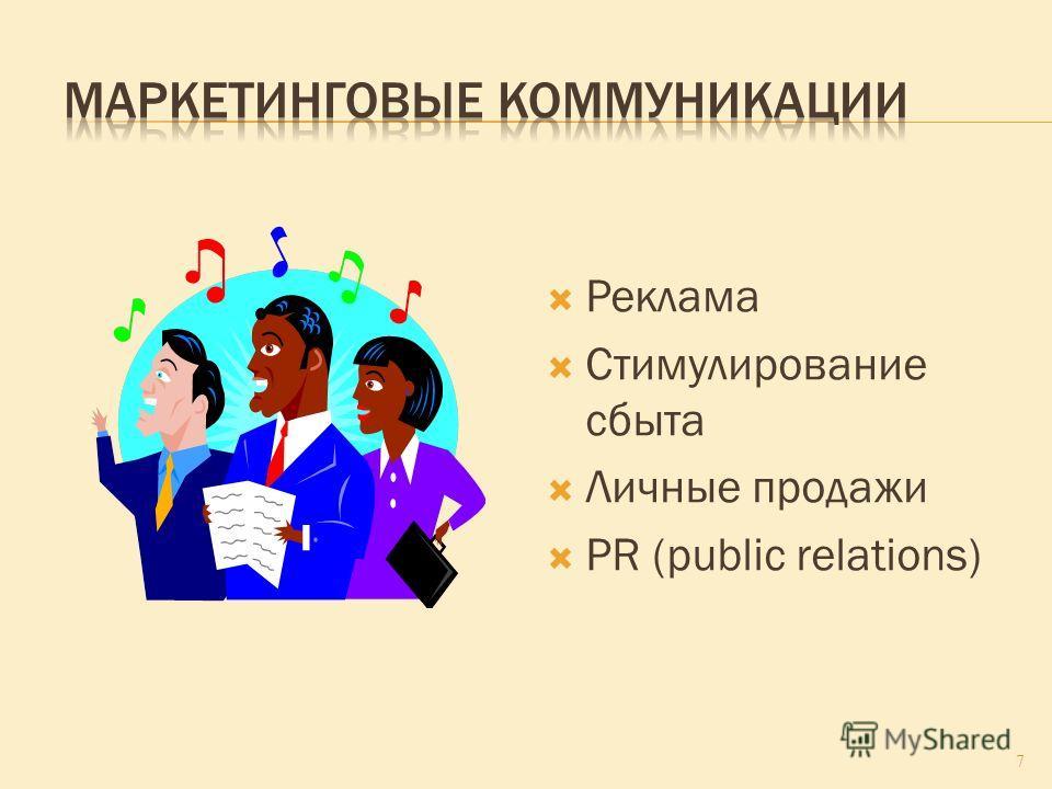 Реклама Стимулирование сбыта Личные продажи PR (public relations) 7