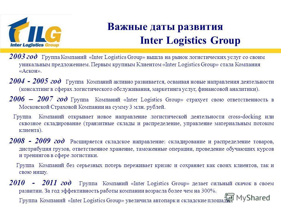 2003 год Группа Компаний «Inter Logistics Group» вышла на рынок логистических услуг со своим уникальным предложением. Первым крупным Клиентом «Inter Logistics Group» стала Компания «Аскон». 2004 - 2005 год Группа Компаний активно развивается, осваива