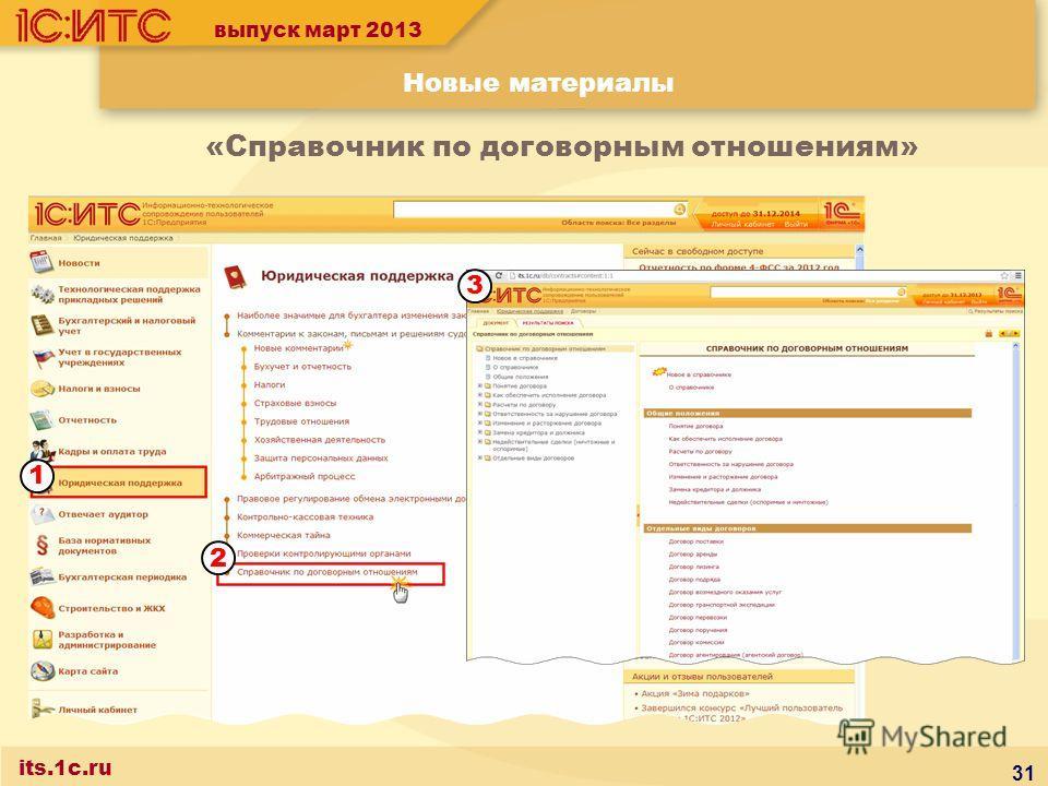 выпуск март 2013 Новые материалы its.1c.ru «Справочник по договорным отношениям» 31 1 2 3