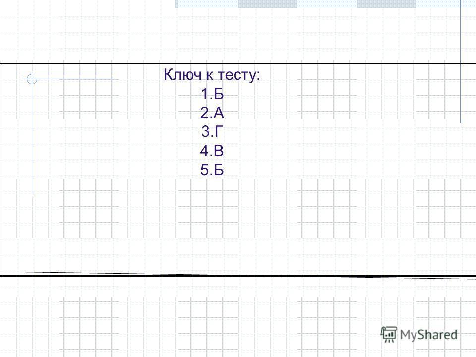 Ключ к тесту: 1.Б 2.А 3.Г 4.В 5.Б