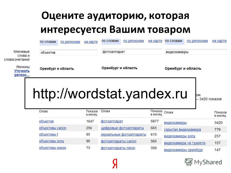 Оцените аудиторию, которая интересуется Вашим товаром http://wordstat.yandex.ru