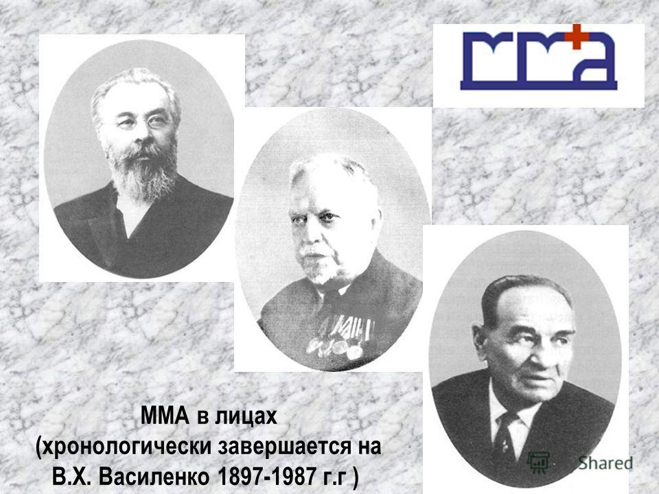 ММА в лицах (хронологически завершается на В.Х. Василенко 1897-1987 г.г )