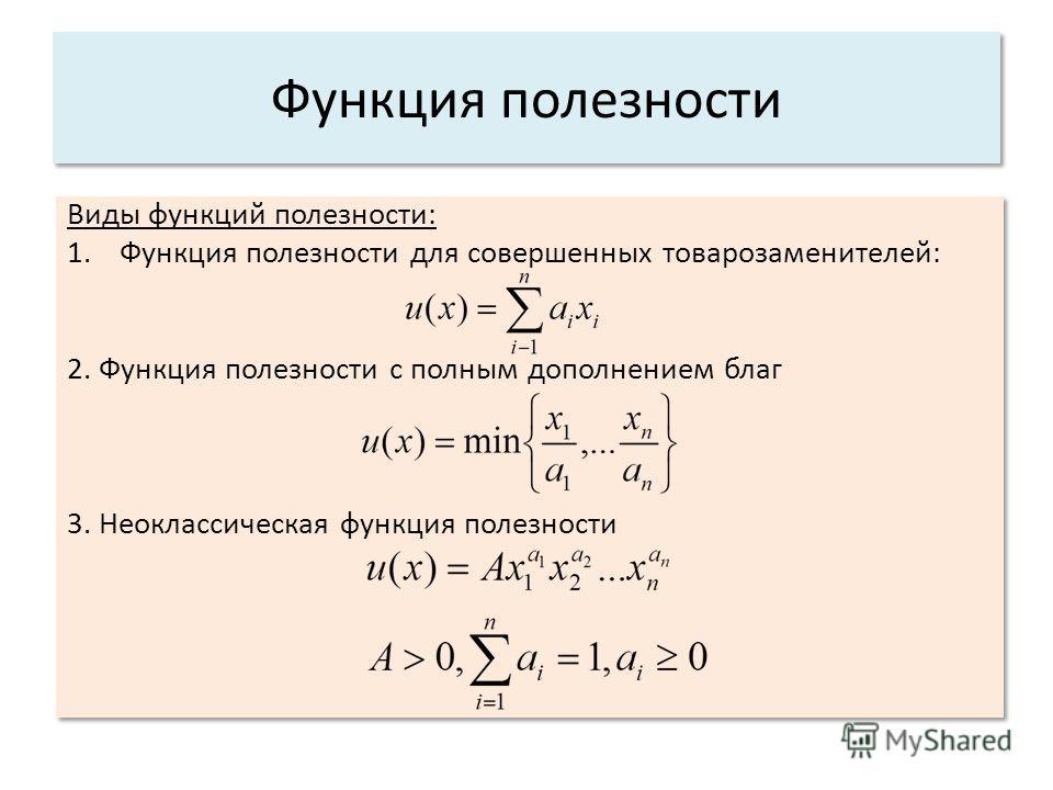 Виды функций полезности: 1.Функция полезности для совершенных товарозаменителей: 2. Функция полезности с полным дополнением благ 3. Неоклассическая функция полезности Виды функций полезности: 1.Функция полезности для совершенных товарозаменителей: 2.