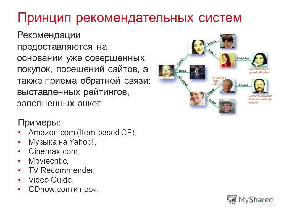 Принцип рекомендательных систем Рекомендации предоставляются на основании уже совершенных покупок, посещений сайтов, а также приема обратной связи: выставленных рейтингов, заполненных анкет. 5 Примеры: Amazon.com (Item-based CF), Музыка на Yahoo!, Ci
