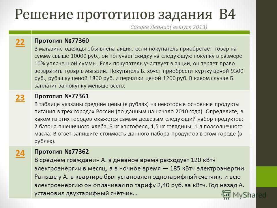 Решение прототипов задания В4 Силаев Леонид( выпуск 2013) 22 Прототип 77360 В магазине одежды объявлена акция: если покупатель приобретает товар на сумму свыше 10000 руб., он получает скидку на следующую покупку в размере 10% уплаченной суммы. Если п