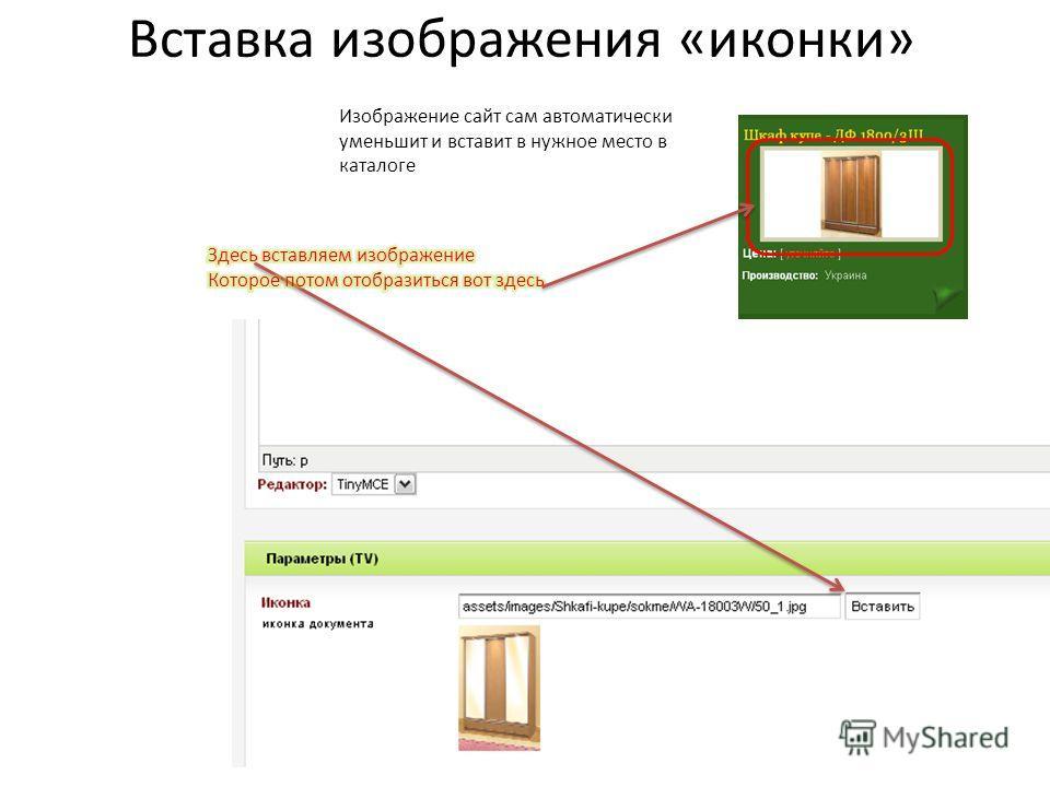 Изображение сайт сам автоматически уменьшит и вставит в нужное место в каталоге Вставка изображения «иконки»