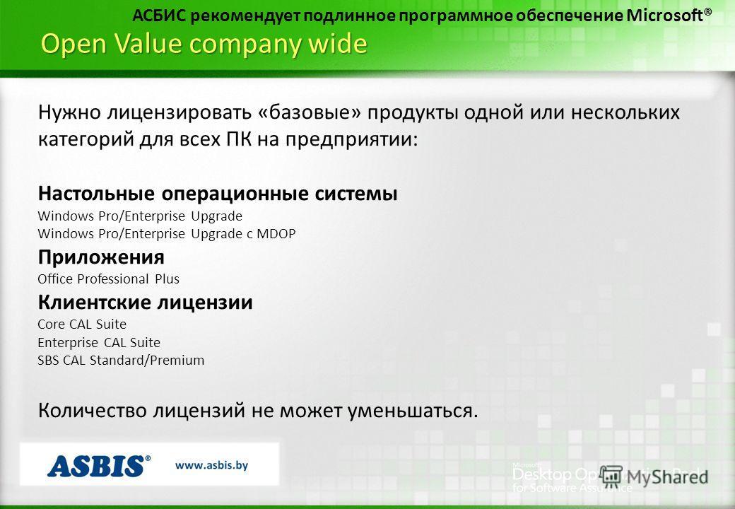 Open Value company wide АСБИС рекомендует подлинное программное обеспечение Microsoft® Нужно лицензировать «базовые» продукты одной или нескольких категорий для всех ПК на предприятии: Настольные операционные системы Windows Pro/Enterprise Upgrade Wi
