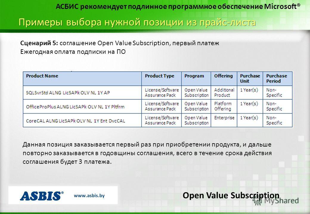 Примеры выбора нужной позиции из прайс-листа АСБИС рекомендует подлинное программное обеспечение Microsoft® Сценарий 5: соглашение Open Value Subscription, первый платеж Ежегодная оплата подписки на ПО Данная позиция заказывается первый раз при приоб