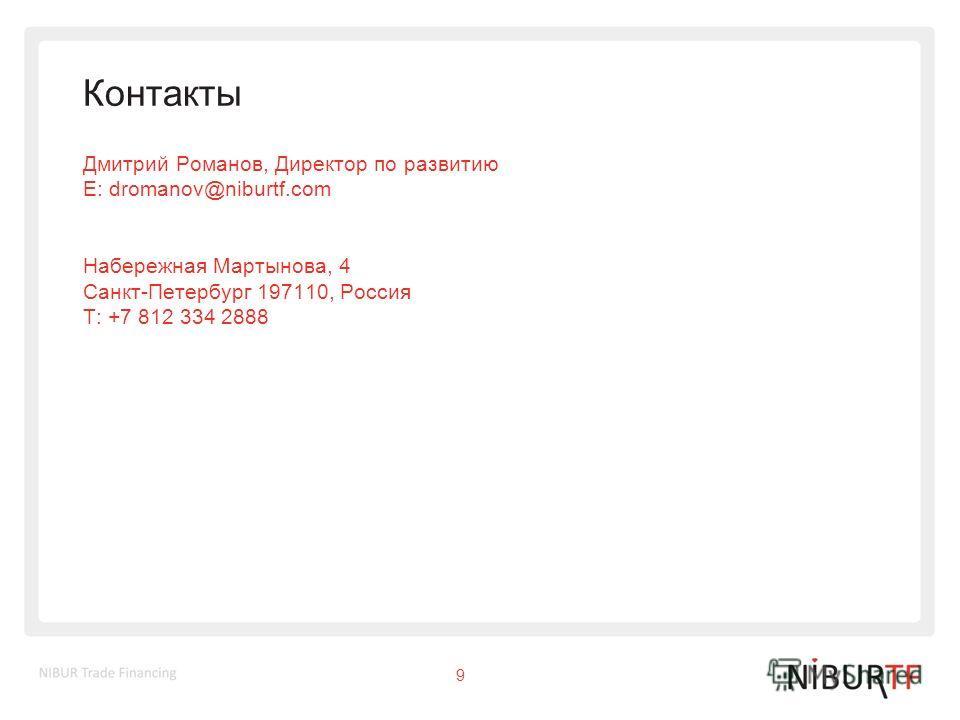 Контакты Дмитрий Романов, Директор по развитию E: dromanov@niburtf.com Набережная Мартынова, 4 Санкт-Петербург 197110, Россия T: +7 812 334 2888 9