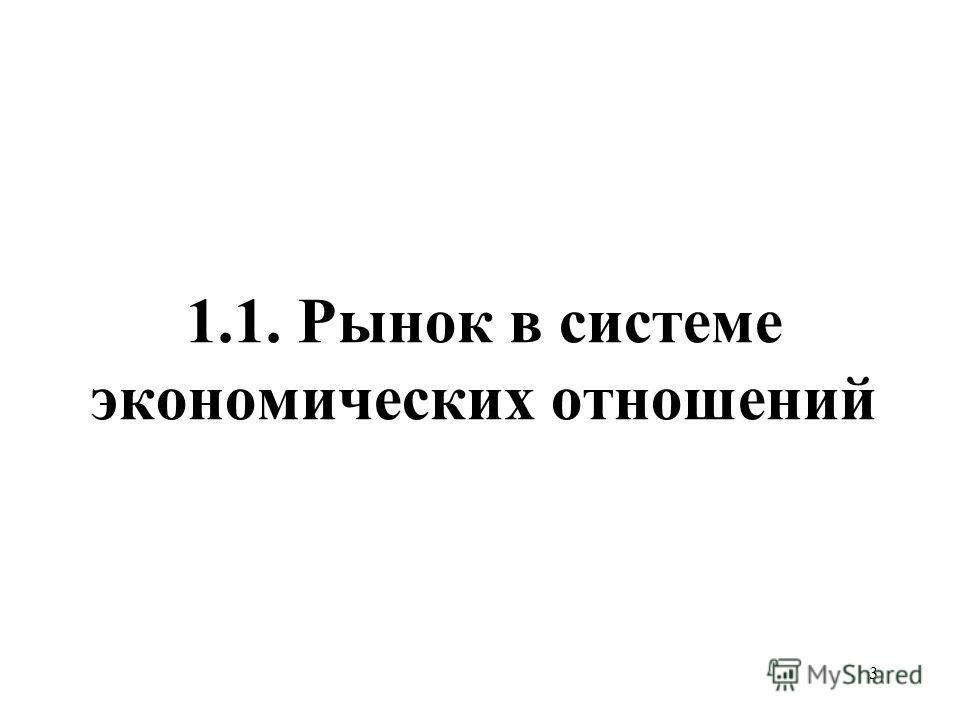 3 1.1. Рынок в системе экономических отношений