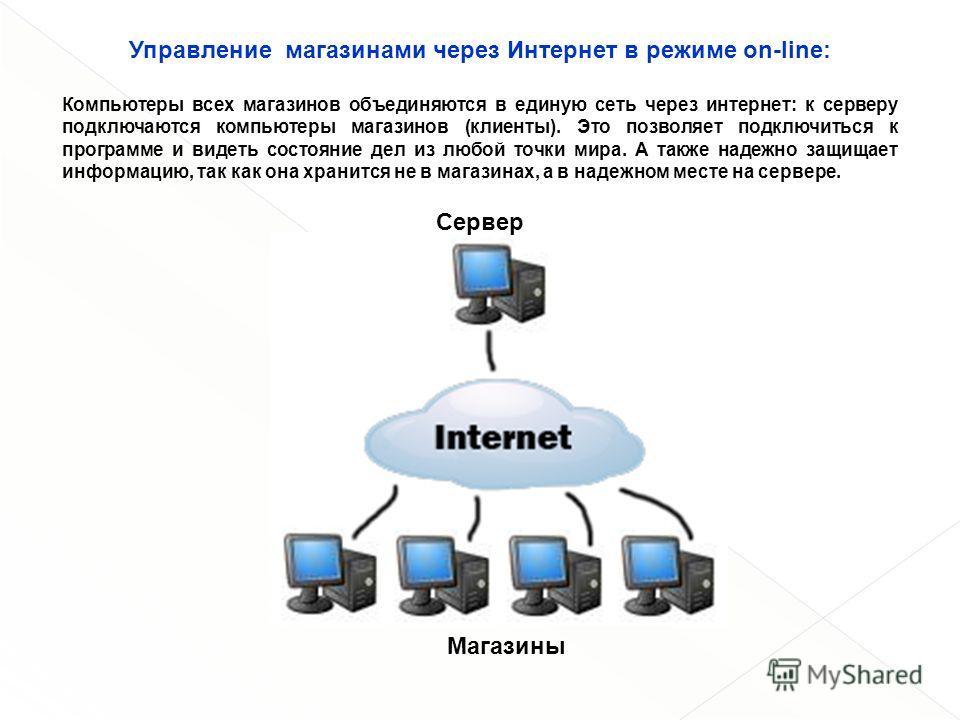 Управление магазинами через Интернет в режиме on-line: Компьютеры всех магазинов объединяются в единую сеть через интернет: к серверу подключаются компьютеры магазинов (клиенты). Это позволяет подключиться к программе и видеть состояние дел из любой