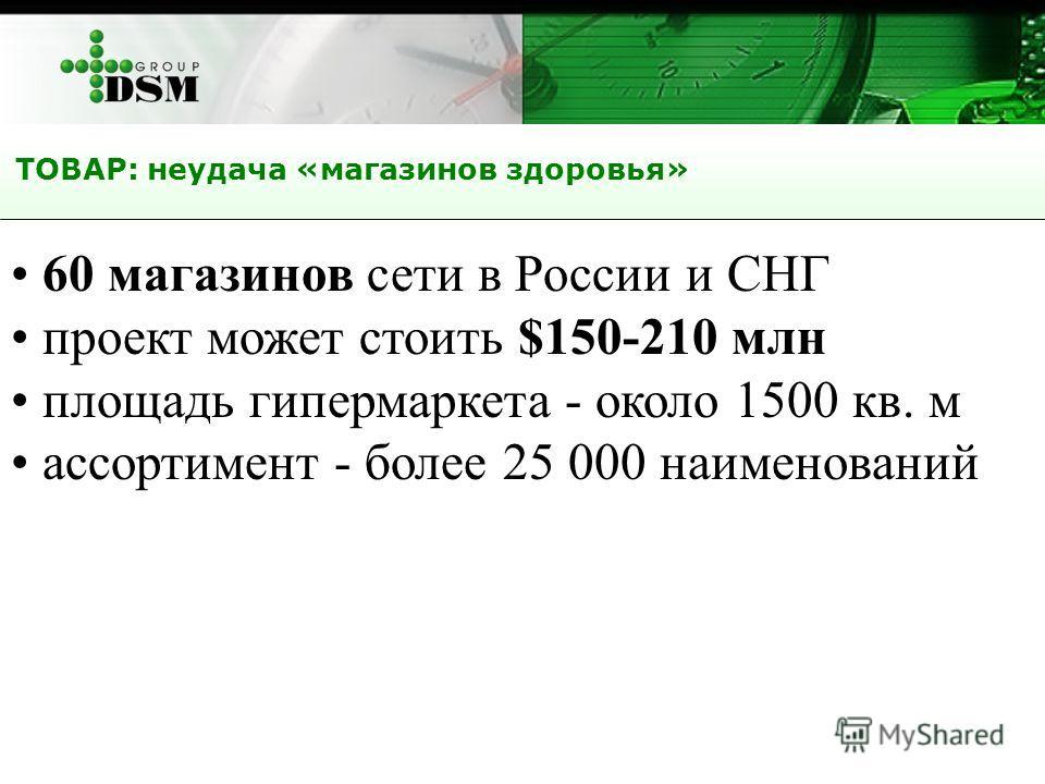 ТОВАР: неудача «магазинов здоровья» 60 магазинов сети в России и СНГ проект может стоить $150-210 млн площадь гипермаркета - около 1500 кв. м ассортимент - более 25 000 наименований